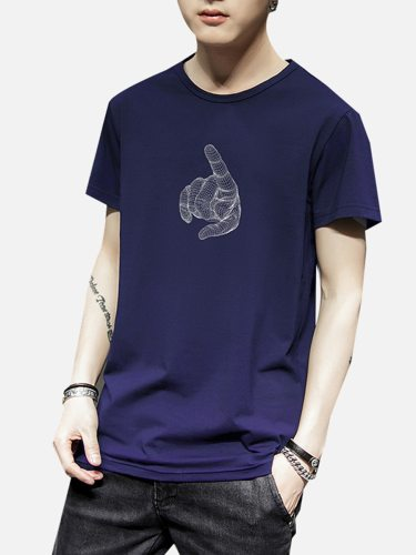 Men's T Shirt Letter Print Solid Casual Crew Neck Short Sleeve