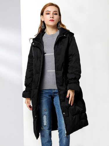 E•BECKY Women's Down Coat Color Warm Casual Long Zipper Solid Hooded Pocket Long Sleeve