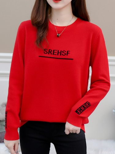 Women's Pullover Words Pattern Top Fashion Crew Neck Long Sleeve