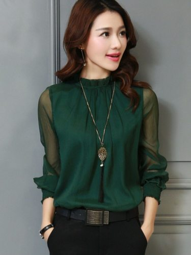 Women's Chiffon Blouse Button Casual Stand Collar Solid Color Long Sleeve