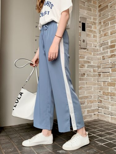 Women's Split Wide Leg Pants Striped Ninth High Waist Casual Drawstring