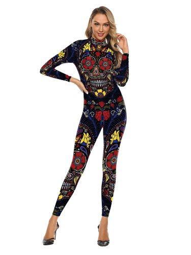 Women's Jumpsuit Fashion Long Sleeve Turtle Neck Casual Slim Mid Waist Floral Print