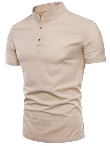Men's Polo Shirt Stand Collar Solid Color Short Sleeve Fashion