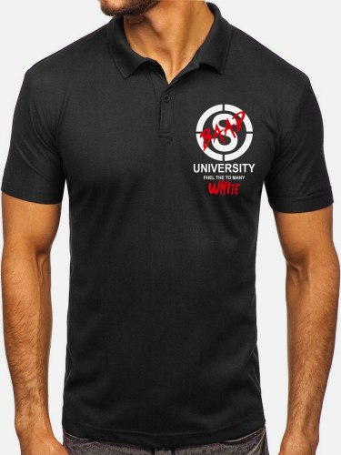 Men's Polo Shirt Print Short Sleeve Letter Fashion Turn Down Collar Sports