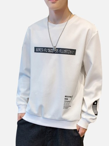 Men's Sweatshirt Letter Printed Fashion Crew Neck Long Sleeve Sets Sweatshirts