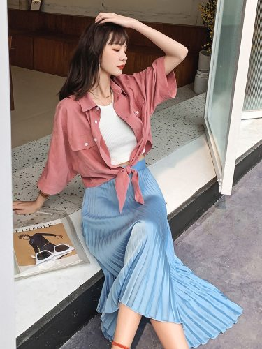 Women's Pleated Skirt A Line High Waist Solid Color Sweet Midi
