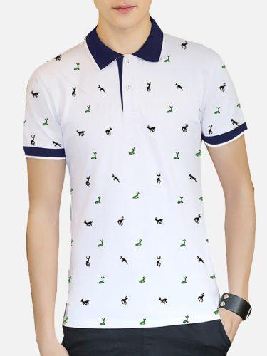 Men's Polo Shirt Causal Solid Color Turn Collar Short Sleeve Turn Down Collar Fashion
