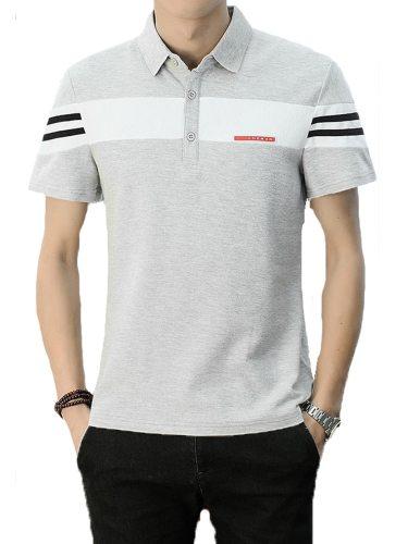 Men's Polo Shirt All-Match Simple Turn Down Collar Slim Patchwork Fashion Short Sleeve