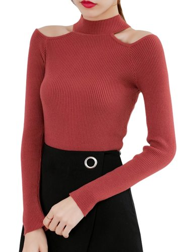 Women's Pullover Solid Color Slim Hollow out Celebrity&Elegant Long Sleeve Crew Neck
