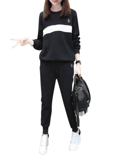 Women's 2pcs Sweatshirt Peg High Waist Pocket Loose Long Sleeve Crew Neck Top Fashion Striped