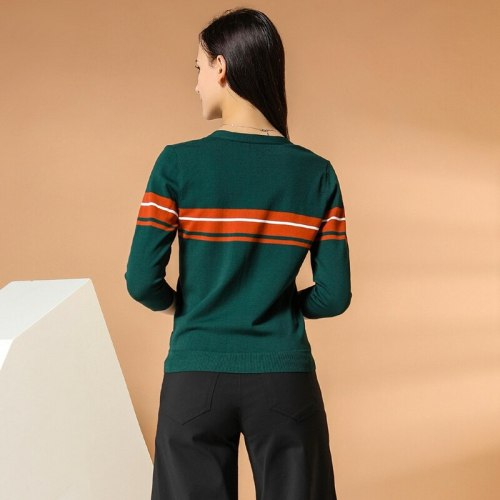 E·BECKY Women's Pullover Color Block Fashion V Neck The various accessories in the picture are for shooting and are not included in the products OL