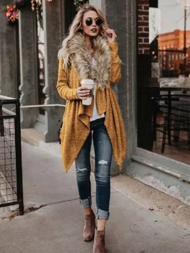 Women's Wool Blend Coat Sleeve V Neck Sherpa Solid Color Casual Long Sleeve Slim Open Front