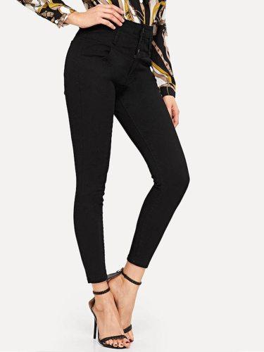 Women's Jeans Denim Mid Waist Solid Color Multi-Pockets Slim Casual