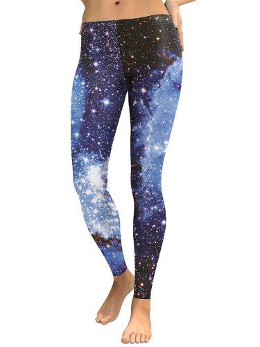 Women's Leggings Galaxy Print Yoga Sport Casual Simple Slim Low Waist Ninth Floral Print