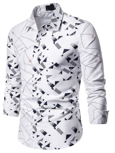 Men's Shirt Geometic Going Out Long Sleeve Turn Down Collar Casual Patchwork