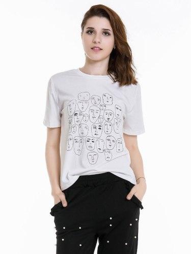 Women's T Shirt Print Crew Neck Figure Short Sleeve Casual