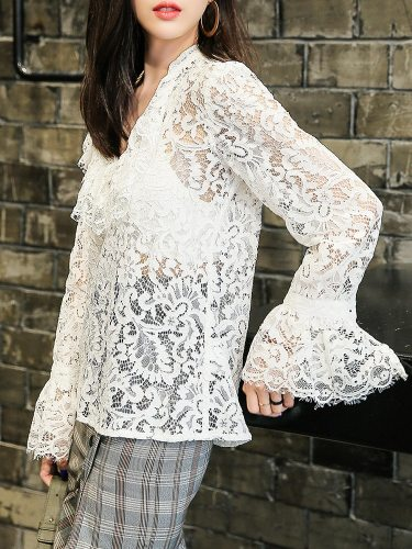 Women's Blouse Lace Flare Sleeve Graceful Hollow out Elegant V Neck Solid Color Loose Long Sleeve