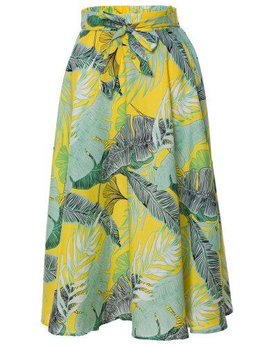 Women's A Line Skirt High Waist Bandage Mid Waist Floral Print Top Fashion Midi