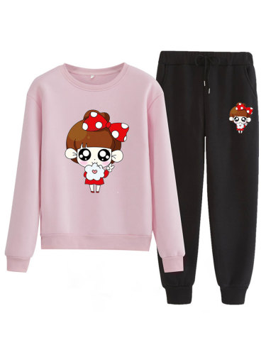 Women's Two-Piece Pants Set Fashion Sweatshirt Print Trousers High Waist Crew Neck Loose Patchwork Simple Long Sleeve