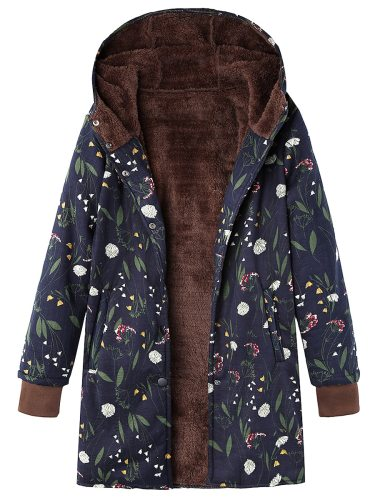 Women's Trench Coat Zipper Hooded Fleece Warm Loose Single Breasted Button Stand Collar Vintage Long Sleeve Floral Print