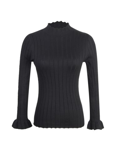 Women's Pullover Sweater Turtle Neck Flare Sleeve Solid Color Long Sleeve Casual Patchwork Regular Doll Collar