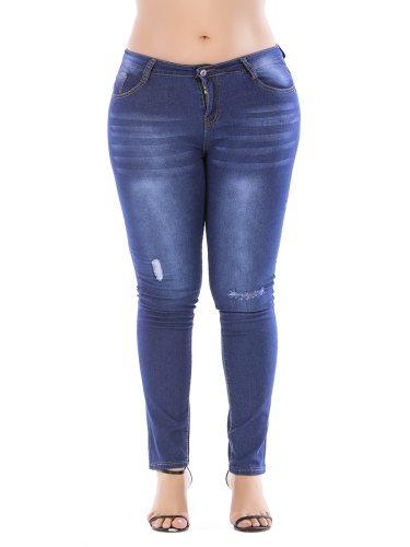Women's Jeans Decoration All Match Fit Plus Size Denim Slim Casual Hole