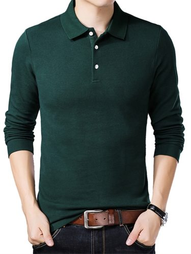 Men's Polo Shirt Solid Color Comfy Turn Down Collar Long Sleeve Casual