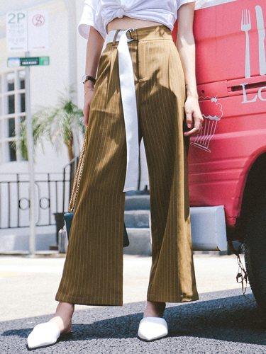 Women's Casual Pants Wide Leg Simple Button Ninth Solid Color Loose High Waist
