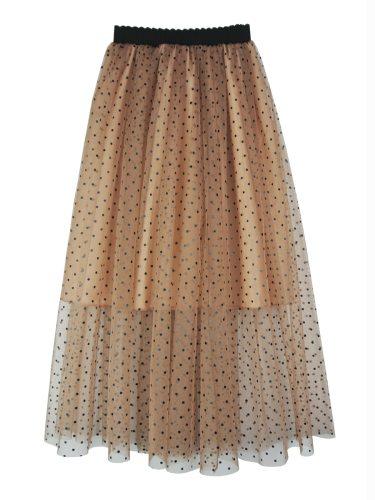 Women's A Line Skirt Printed Double Layer Casual Length Loose Midi Sweet Polka Dot High Waist
