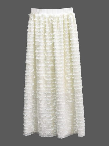 Women's Pleated Skirt Elastic Waist Elegant Crimping High Waist Loose Casual Solid Color Maxi