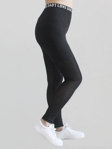Women's Leggings Patchwork Slim Letter Mid Waist Solid Color Long Regular Sporty