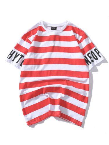 Men's T-Shirt Print Letter Striped Color Block Short Sleeve Casual Crew Neck Loose Colorblock