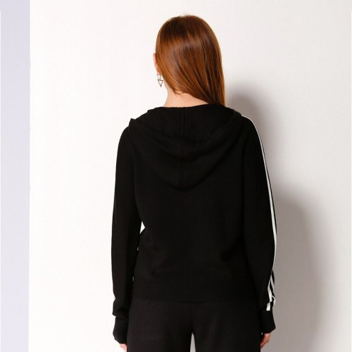 Women's Sweater Hooded Pattern Casual Long Sleeve Patchwork Simple Crew Neck