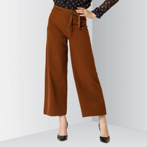 E·BECKY Women's Wide Peg Pants Bow Solid Color Fashion Floral Print OL&Feminine OL Wide Leg Pants Loose Zipper High Waist The various accessories in