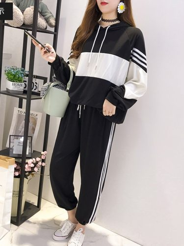 Women's 2 Pieces Set Patchwork Color Block Hoodie Pocket Pants Sporty Striped Long Sleeve