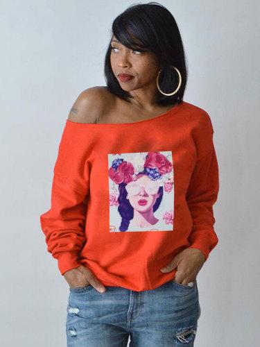 Women's T Shirt Fashion Sexy Slash Neck Floral Print Long Sleeve