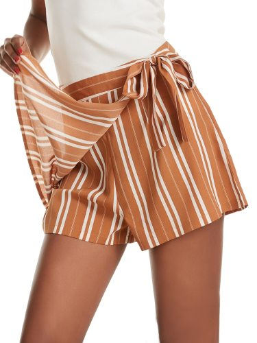 Women's Shorts Bow Decorated Fashion All-Match Short Casual Patchwork Solid Color Mid Waist
