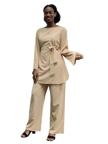 Women's 2 Pieces Set Top Straight Leg Pants Long Sleeve Crew Neck Solid Color High Waist Sweet Slim Waist Drawstring
