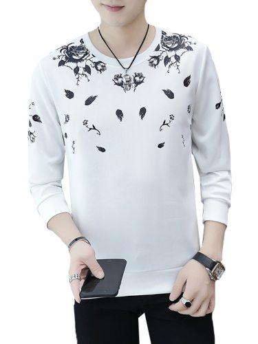 Men's T Shirt Crew Neck Fashion Long Sleeve Print