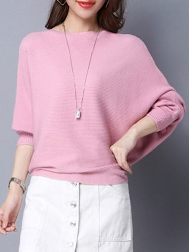 Women's Pullover Solid Color Batwing Sleeve Crew Neck Simple Loose Long Sleeve