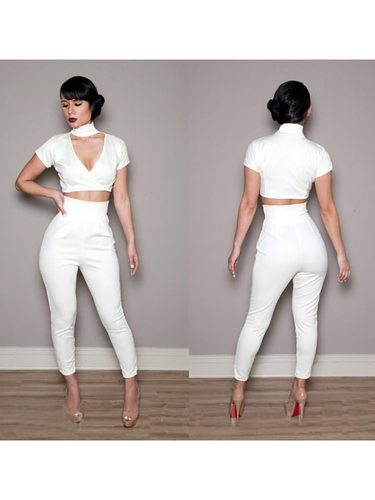 Women's 2 Pieces Set V Neck Short Sleeve Top Casual Pants Celebrity&Elegant High Waist Solid Color Slim