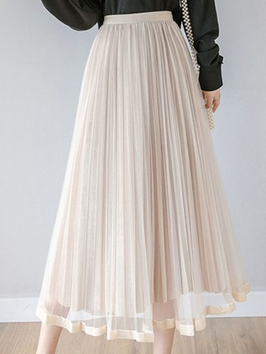 Women's Pleated Skirt Organza Fashion Solid Color Casual Midi High Waist