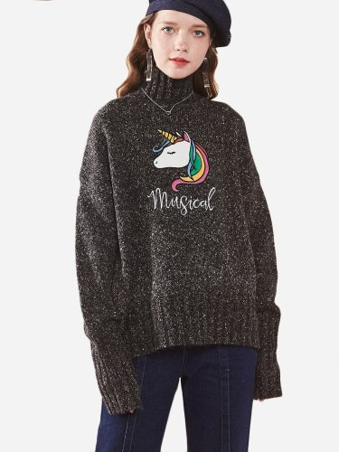 Tonlion Women's Sweater Lovely Unicorn Pattern Knitted Long Sleeve Turtle Neck Loose