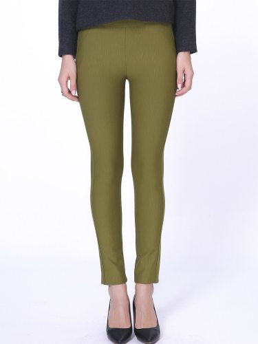 E·BECKY Women's Leggings Slim Casual All Match Mid Waist Solid Color