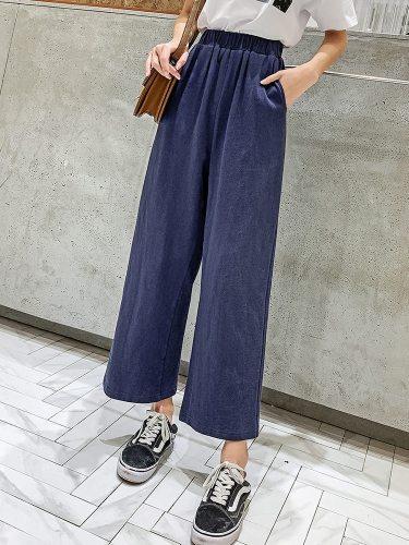 Women's Pants Straight Leg Solid Color Loose Ninth Top Fashion High Waist Elastic Waist