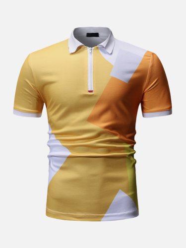 Men's Polo Shirt Color Block Patchwork Zipper Design Slim Elastic Colorblock Short Sleeve Casual Turn Down Collar