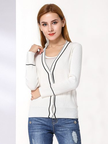 EBECKY Women's Cardigan Fashion Striped Decor All Match Slim V Neck Long Sleeve