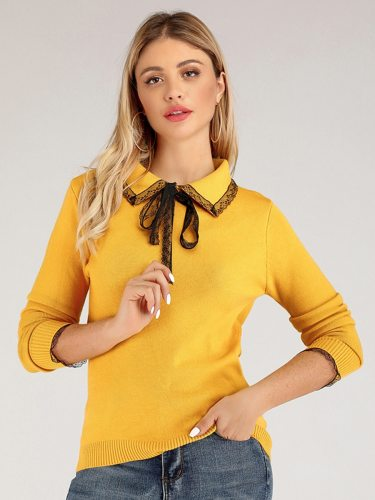 Women's Pullover Fashion Solid Color Lace Turn Down Collar Long Sleeve Simple Slim Doll Collar Hollow out