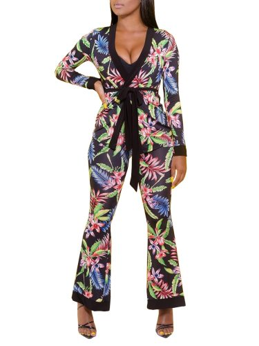 Women's Two-Piece Set Stylish V Neck Top Floral Pants 1 Mid Waist Slim Long Sleeve