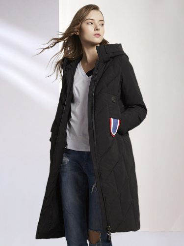 E·BECKY Women's Coat Solid Color Long Section Down Top Fashion Zipper The various accessories in the picture are for shooting and are not included